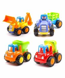 Webby Friction Powered Construction Toys Pack of 4 - Multicolor