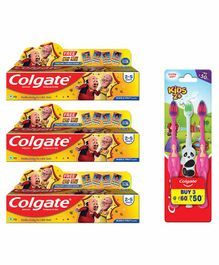 Colgate Motu Patlu Bubblefruit Flavoured Toothpaste and Toothbrush Combo of 3 - 40 gm Each