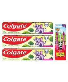 Colgate Strawberry Flavoured Toothpaste and Toothbrush Combo of 3 - 40 gm Each