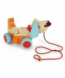 Shumee Bruno Dog Wooden Pull Along Toy - Multicolor