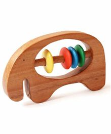 Shumee Elephant Shaped Wooden Rattle - Multicolor