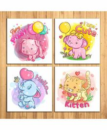 Wens Cartoon Sparkle Laminated Wall Panels Set of 4- Multicolor