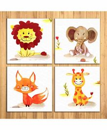Wens Animals Nursery Sparkle Laminated Wall Panels Set of 4- Multicolor