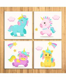 WENS Unicorn Sparkle Laminated Wall Panels Set of 4 - Multicolour