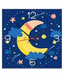 WENS Silent Non-Ticking Battery Operated Kids Wall Clock Moon Print - Blue