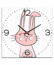 WENS Silent Non-Ticking Battery Operated Kids Wall Clock Bunny Print - Peach