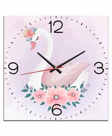 WENS Silent Non-Ticking Battery Operated Kids Wall Clock Swan Print - Pink