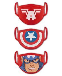 Babyhug 4 to 8 Years Washable & Reusable Knit Face Mask Captain America- Pack of 3