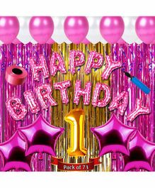 Shopperskart First Birthday Balloon Kit Pink - Pack of 73