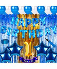 Shopperskart First Birthday Balloon Kit Blue - Pack of 73