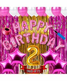 Shopperskart Second Birthday Balloon Kit Pink - Pack of 73