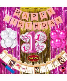 Shopperskart First Birthday Decoration Kit Pink - Pack of 85