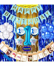 Shopperskart First Birthday Decoration Kit Blue - Pack of 85