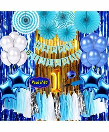 Shopperskart First Birthday Decoration Kit Blue - Pack of 80
