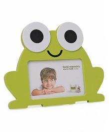 Frog Shaped Wooden Photo Frame - Green