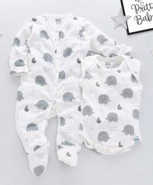 ROYAL BRATS Elephant Print Full Sleeves Onesie & Romper Set - White & Grey