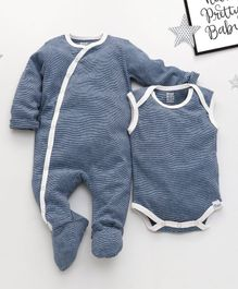 ROYAL BRATS Striped Full Sleeves Onesie & Romper Set - Blue & White
