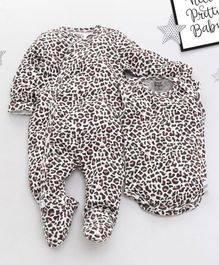 ROYAL BRATS Cheetah Print Full Sleeves Onesie & Romper Set - White & Black