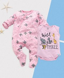 ROYAL BRATS Full Sleeves Bunny Printed Onesie & Romper Set - Pink