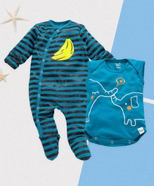 ROYAL BRATS Full Sleeves Striped Onesie & Romper Set - Blue