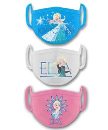 Babyhug 2 to 4 Years Months Washable & Reusable Knit Face Mask Elsa - Pack of 3