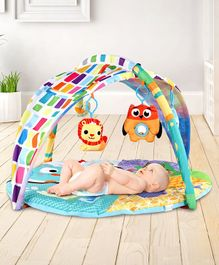 Baby Play Gym with Canopy and Overhead Soft Toys - Multicolor
