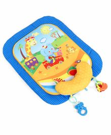 Baby Play Mat with Pillow Animal Print - Blue