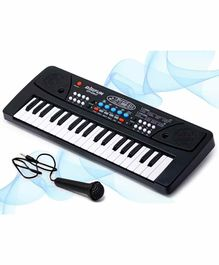 Fiddlerz Electronic 37 Keys Keyboard with Microphone - Black White