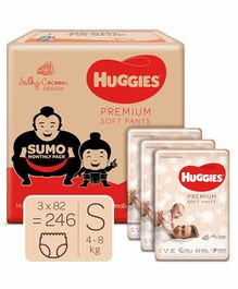 Huggies Premium Soft Pants Sumo Monthly Pack Small Size Diapers - 246 Pieces