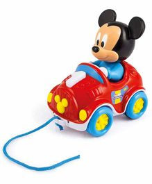 Clementoni Baby Mickey Mouse Pull Along Car - Red Blue