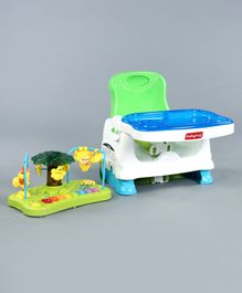 Babyhug Delight 2-in-1 Booster Seat With Toy Tray & Music - White Green Blue