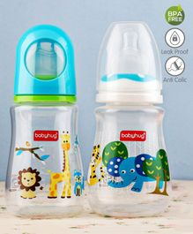 Babyhug Feeding Bottle Animal Print Blue And White Pack of 2 - 125 ml each