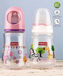 Babyhug Feeding Bottle Animal Print Pink And White Pack of 2 - 125 ml each