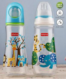 Babyhug Feeding Bottle Animal Print Blue And White Pack of 2 - 250 ml each