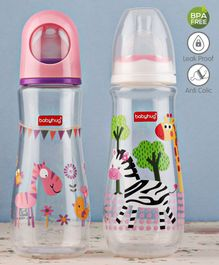 Babyhug Feeding Bottle Animal Print Pink And White Pack of 2 - 250 ml each