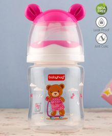 Babyhug Feeding Bottle 3D Cap Design Pink - 125 ml