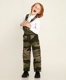 Cherry Crumble California Sleeveless Camouflage Printed Dungaree - Green
