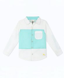 Cherry Crumble California Full Sleeves Color-Block Shirt - White