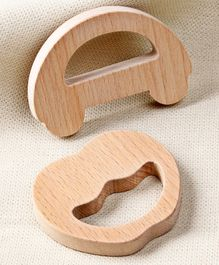 Babyhug Natural Wooden Teether Pack of 2 - Beige