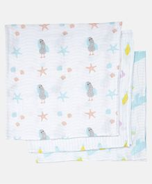 Ooka Baby 100% Premium Cotton Muslin Printed Swaddle Wrapper Pack of 3 - Ocean's Lullaby Prints