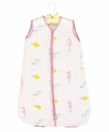 Ooka Baby Muslin Light Sleeping Bag in Seahorse Print Small Size - White & Purple