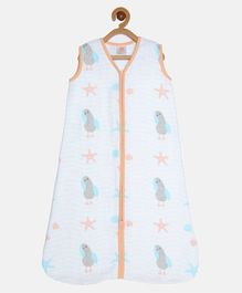 Ooka Baby Double Layered Muslin Sleeping Bag in Seagull Print (M)