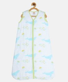 Ooka Baby Double Layered Muslin Sleeping Bag in Whale Print (M)