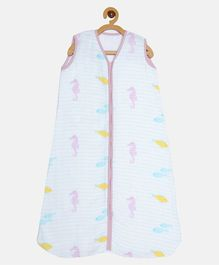 Ooka Baby Double Layered Muslin Sleeping Bag in Seahorse Print (L)