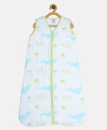 Ooka Baby 100% Premium Cotton Muslin Sleeping Bag Whale Print Large Size - White & Seagreen