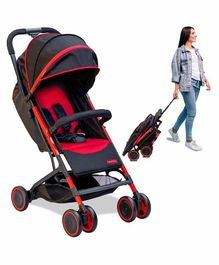 Fisher Price Fly Light Stroller Cum Pram with Cushioned Backrest - Red