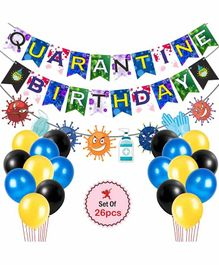 Party Propz Quarantine Theme Banner With Balloons Multicolor - 26 Pieces