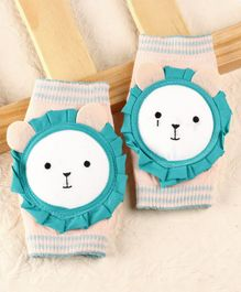 Baby Elbow & Knee Pads Lion Applique - Grey Blue
