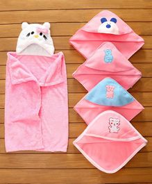 Zoe Baby Fleece Wrapper Cum Blanket Pack of 5 - Pink