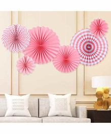 Balloon Junction Paper Fans Party Decoration Pink - Pack of 6